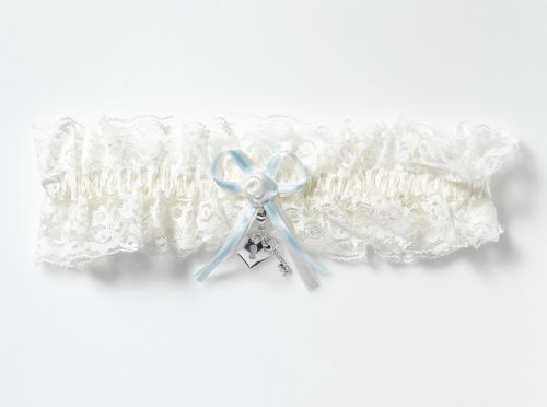 Luxury lace bridal garter with locket, key to my heart